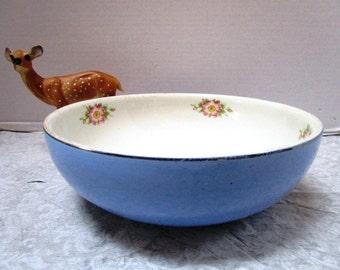 Vintage Hall Pottery Hall Rose Parade China, Pottery Mixing Bowl, Big Blue Bowl w/ Wild Rose, USA Kitchenware Rose Parade, Grandma's Kitchen