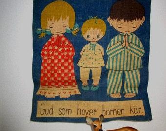 Vintage Swedish Banner, God Holds Children Near, Nursery or Classroom Decor Sunday School, Bedtime Prayer Blessing, Printed Burlap Finland