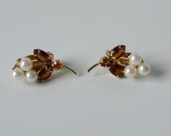 Vintage Gold tone, Faux Pearls, Topaz and Citrine color Rhinestones Earrings.