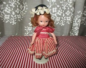 Nancy Ann Story Book Doll FREE SHIPPING, Bisque. Storybook, Candy Stipe Gingham , Red Head , NASD