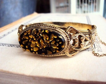 Vintage Whiting and Davis Bangle Bracelet Confetti Foil Stone Filigree Ormolu Metal Collectible Costume Jewelry Mid Century Black and Gold