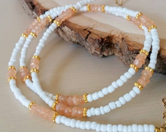 NEW Orange gemstone white seed bead & gold wrap bracelet or necklace. Boho chic. Coachella. Dainty. Gift. Bohemian Layer versatile Arm candy