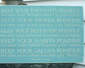Mahatma Gandhi Be Positive Keep Your Thoughts Positive Carved Wood Sign Gift - 16x24 Engraved Handpainted Rustic Wooden Sign