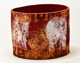 Ethnic Folk Bracelets Leather Jewelry Cuff - Red Orange Bronze Silver