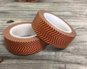 Washi Tape - 15mm - Orange and Black Chevron - Deco Paper Tape No. 147