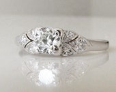 Antique 1930's Art Deco diamond and platinum engagement ring