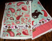 Western Cowgirl Baby Burp Cloths Set of 2 Rodeo Rider
