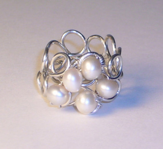 Pearl Ring, Champagne Pearls, Sterling Silver