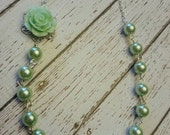 The Sophia Rose Flowergirl Necklace...a Mint Green flower and pearls, available in many colors,  Purchase 3 or more for 10% OFF