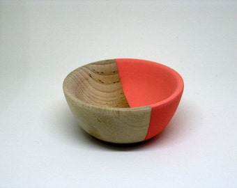 Coral Painted Wood bowl Jewelry dish Ring cup mini jewelry bowl holder
