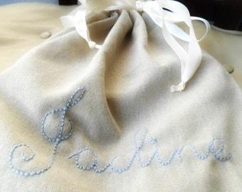Something Blue Bridal Gift / Personalized Lingerie Bag / Bridesmaids Party favor Lingerie Shower Party  Drawer Organizer Travel  bag