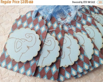SALE FREE SHIPPING Baby Shower Its a Boy or Birthday Elephant and Harlequin Print Tags Set of 8