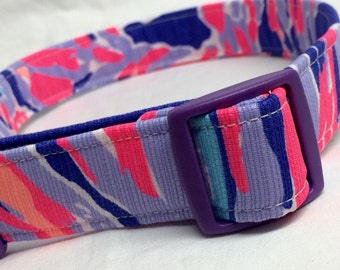 Lilly Pulitzer Fabric Dog Collar Boy Girl Purple Pink Blue Shrimply Chic