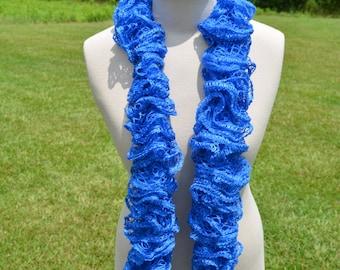 Blue Ruffle Scarf, Crochet Ruffle Scarf, Sashay Scarf, Blue Crochet Scarf