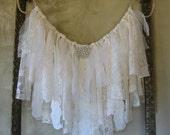 Shabby Chic Window Valance / Fabric Garland Banner / With or Without Rhinestone-Pearl Embellishment / Fringe Frayed Wallhanging Boho OOAK
