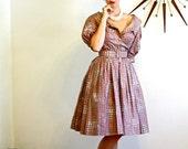 SALE 50% OFF Vintage 50s Dress/ 1950s Dress/ Melbray Regal/ Full Sweep/ Off the Shoulder/ Mauve Dusty Rose Pink/ Cotton Dress/ Novelty Print