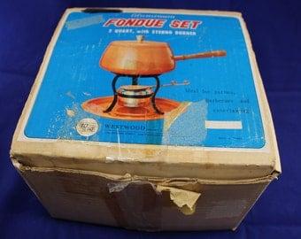 Vintage Avocado Green Aluminum Fondue Pot Set New In Box