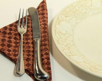 Cloth Napkins -Folk Art Checkerboard - Fabric Napkins - Thanksgiving - Hostess Gift - set of 6
