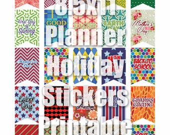 "8.5 x 11"" Planner Holiday Sticker Printables DIY  I  JPG and Silhouette Print & Cut File"