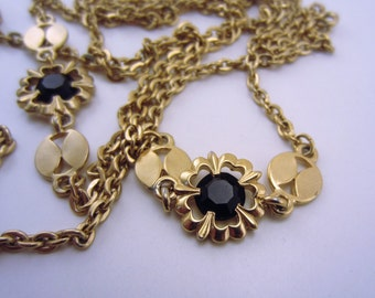 Long necklace. Vintage necklace. Black stone and gold necklace. Extra long necklace. Vintage jewelry. Gift for her.