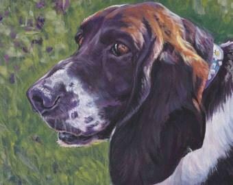 Basset Hound Dog art CANVAS print of LA Shepard painting 12x16 dog portrait