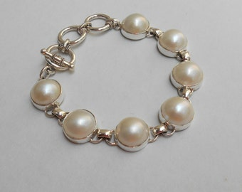 Balinese Chain sterling Silver Bracelet seven white pearl / Silver 925 / Bali handmade jewelry - length 7 inches ready to ship