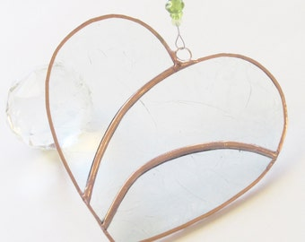 Stained glass, clear glass, wave heart, copper, suncatcher, glass beads, ornament, glass suncatcher