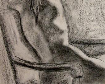 "Reaching Out  Art 18"" x 24"" Original Nude Girl Charcoal Drawing by Award Winning Artist Kendall F. Kessler"