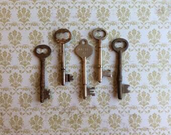 Vintage Skeleton Keys - Lot 1 Qty 5 - FREE SHIPPING U.S.