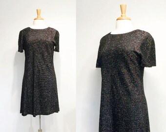 Vintage 1970s Multicolor Glitter Black Dress