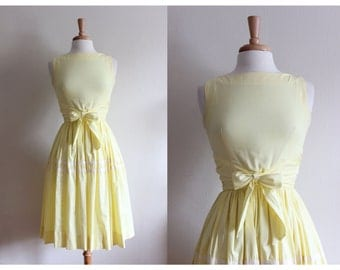 1950s Dress / Jonathan Logan Dress / Vintage Yellow Bow Front Day Dress