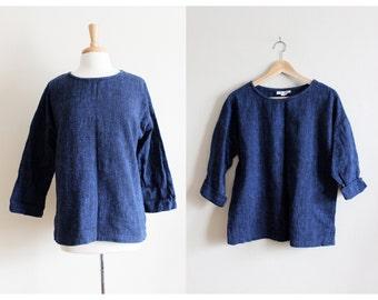 Vintage Blue & Black Woven Cotton Boxy Top