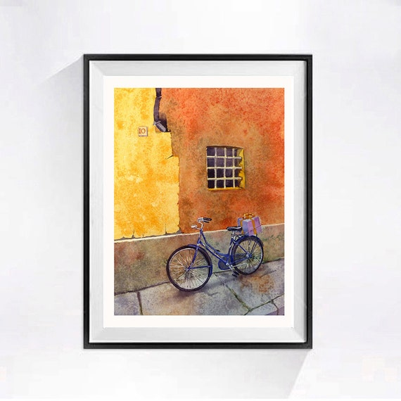 2 Watercolor Window Art Watercolor Bike Print Italian watercolour window wall art bicycle Bike paintings of bicycles Art prints of windows