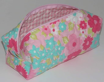 Quilted Boxy Zippered Pouch, Cosmetic Bag, Re-purposed Vintage Sheeting, Pink Turquoise Flowers