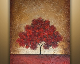 Abstract Painting, Tree Painting, textured Painting, Landscape Painting, Red Tree, Abstract Wall art, Wall Decor, Large Abstract painting