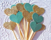 Gold and Aqua/Teal Small Cupcake Toppers - Wedding Shower Cupcake Toppers - Small Glitter Heart Cupcake Toppers and Food Picks  -  PST111