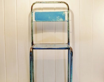 Vintage Bistro Chair Blue Metal Cafe Chair {Pair Available}