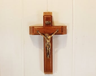 Vintage Sick Call Crucifix Wooden Wall Hanging Cross
