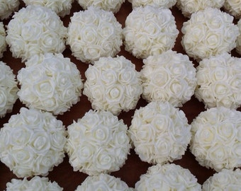 White Rose Kissing Ball Pomander Centerpiece Weddings Set of 10