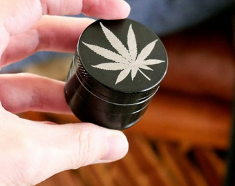"Marijuana Leaf Personal Pocket Mini Grinder | Laser Engraved Cannabis Leaf on Black - ""Stealth Bomber"""