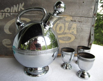 Vintage Mid Century Rounded Chrome Bar Decanter and Cups