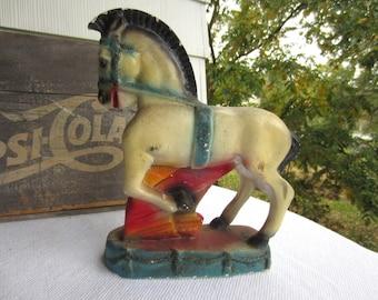 Vintage Chalkware Horse 1930s Carnival Prize Horse Statue Bookshelf Mantel Home Decor