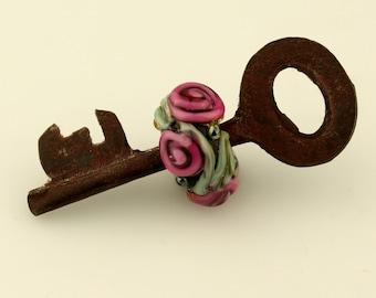 Lampwork Key Bead Lampwork Bead on Vintage Skeleton Key Black,  Green and Pink Flowers