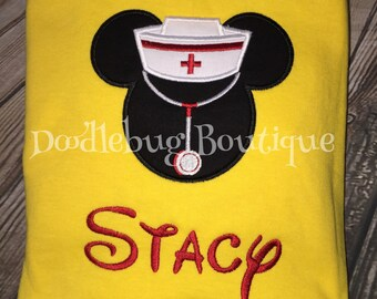 Mickey Mouse nurse shirt with FREE name