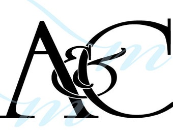 Intertwining Ampersand Monogram - A&C (instant download - JPG, PSD, PDF)