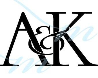 Intertwining Ampersand Monogram - A&K (instant download - JPG, PSD, PDF)