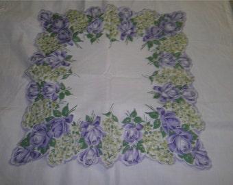 VINTAGE HANKIE -  Purple Roses & Lilacs