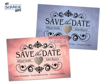 Save The Date Scratch Off Cards - Wedding Announcement (100 qty) ANY COLOR!