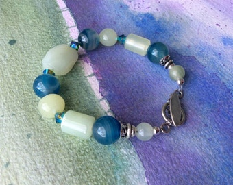 FREE SHIPPING Green And Blue Stone Sterling Silver Bracelet