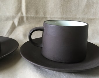 Vintage Dansk Denmark Flamestone Smooth Coffee Cups Saucers Quistgaard 2